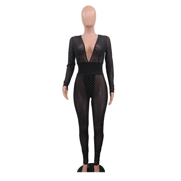 Perspective Mesh Sexy V-neck Jumpsuits