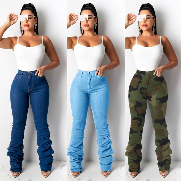 Plus Size Pile Up Denim Trousers