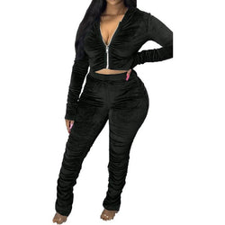 Plus Size Pleated Autumn Winter Style Leisure Suit