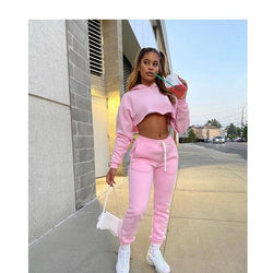 Plus Size 2 Piece Short Sets  -  pink color