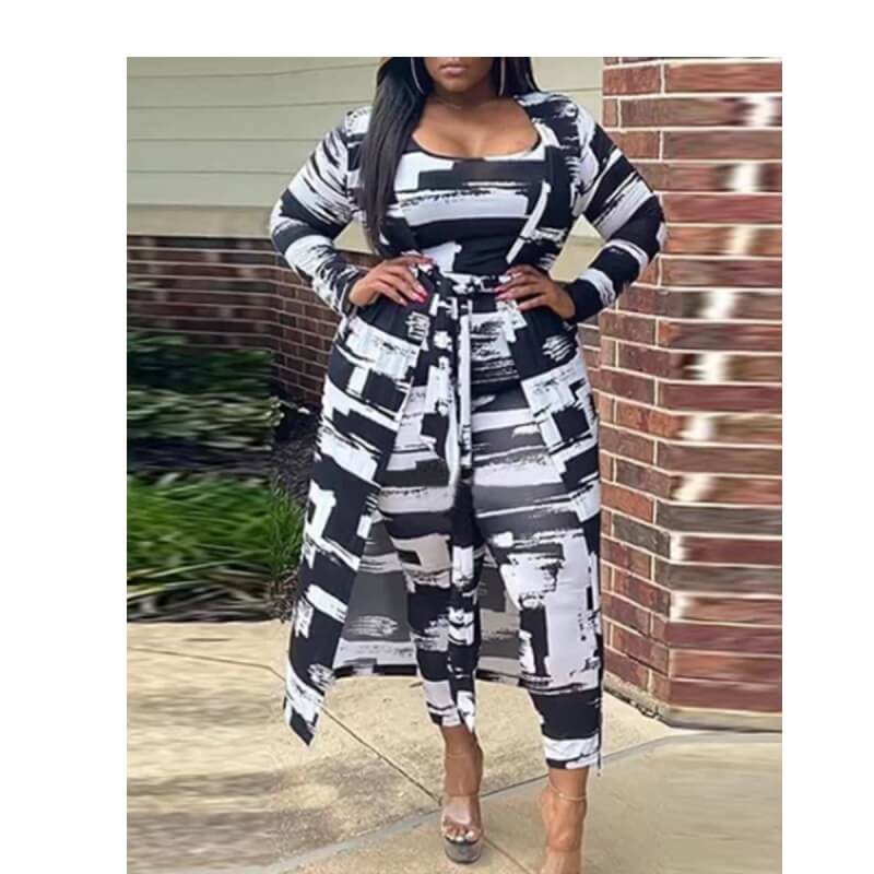 Plus Size Black Two Piece Outfits - black main picture