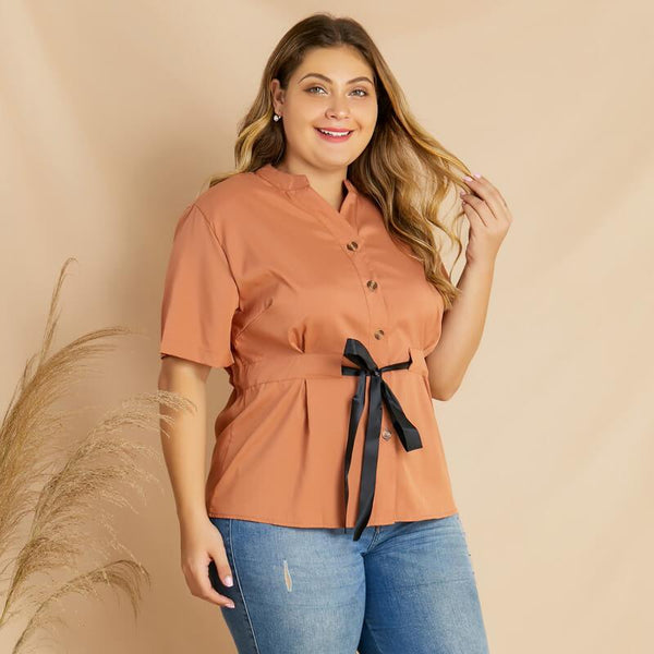 Plus Size Bodysuit Blouse - brown right