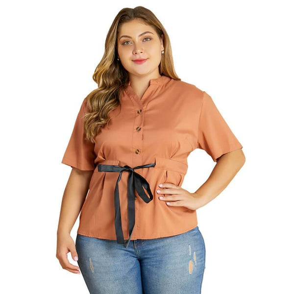 Plus Size Bodysuit Blouse - brown main picture