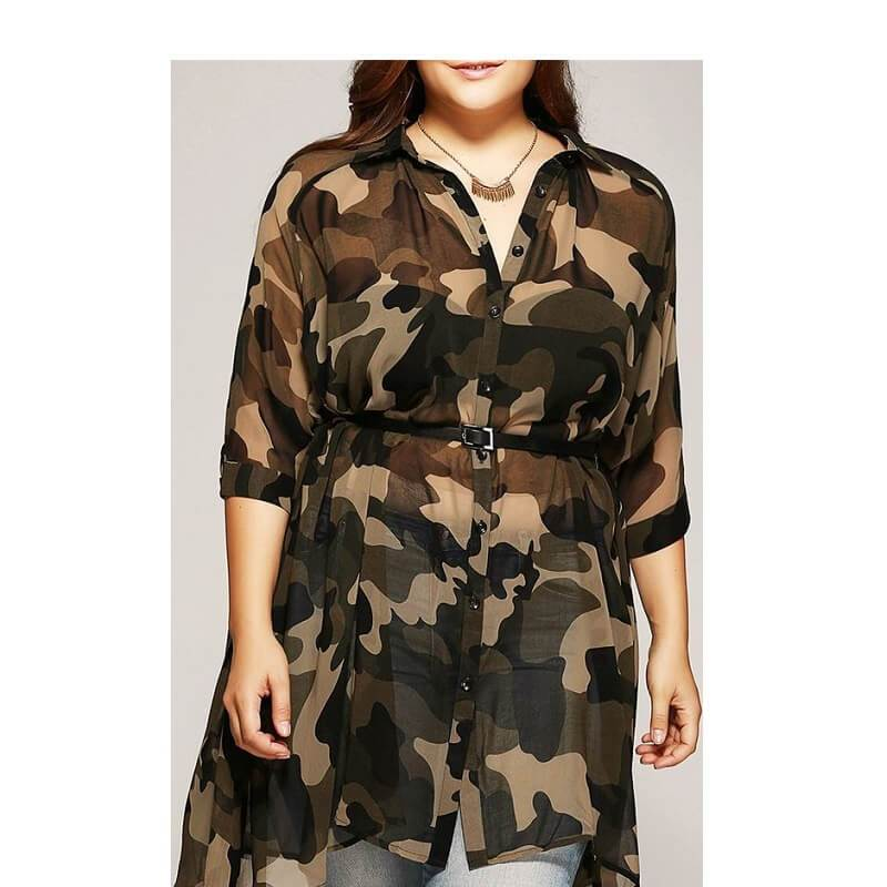 Plus Size Camo Shirt - camouflage positive