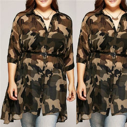 Plus Size Camo Shirt - camouflage color