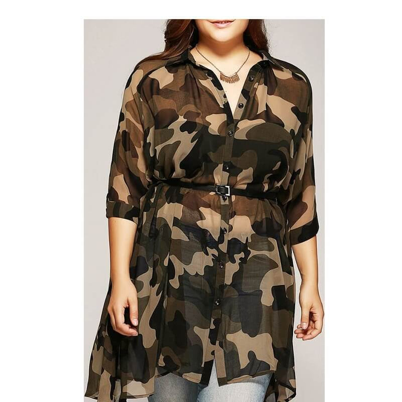 Plus Size Camo Shirt - camouflage whole body