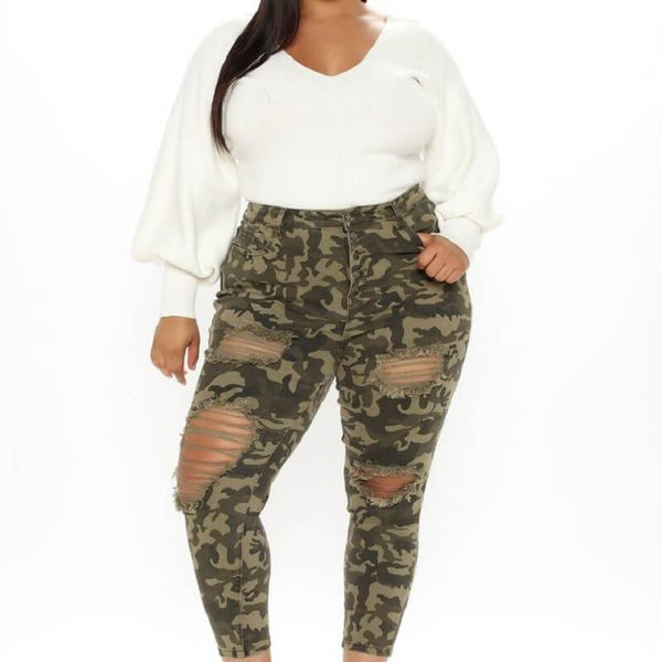 Plus Size  Camouflage Big Size Hole-breaking Pants