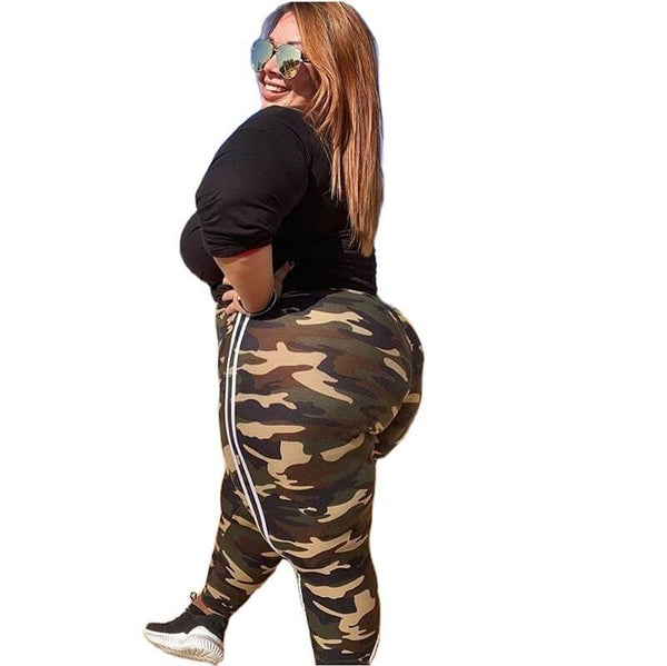 Plus Size Camouflage Sports Pants