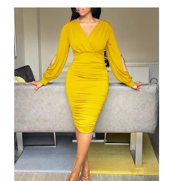Five Colors Plus Size Dresses - yellow color