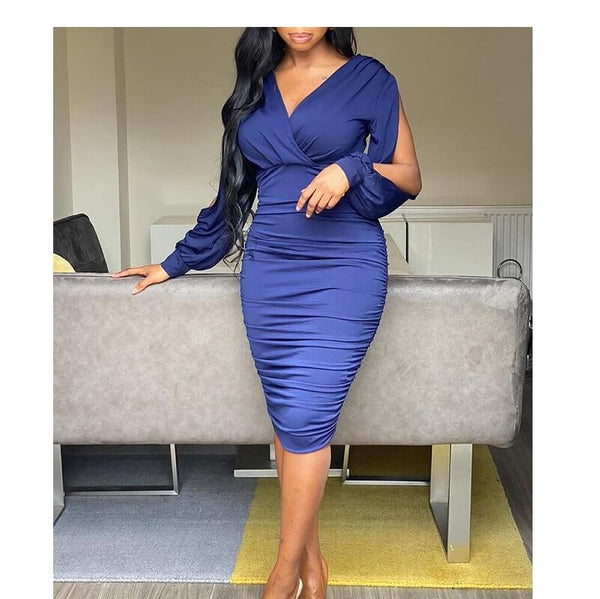 Five Colors Plus Size Dresses - dark blue color