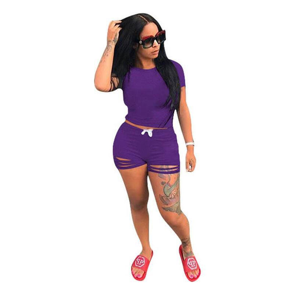 Plus Size Crop Top Skirt Set - purple color