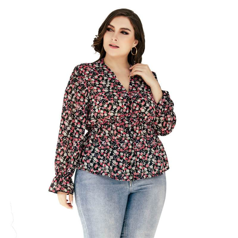 Plus Size Floral Blouse - red main picture