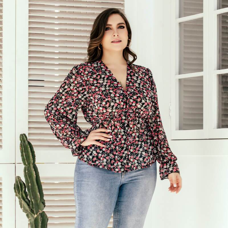 Plus Size Floral Blouse - red right