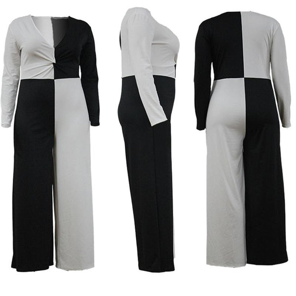 Plus Size Jumpsuits V Neck OL Suit