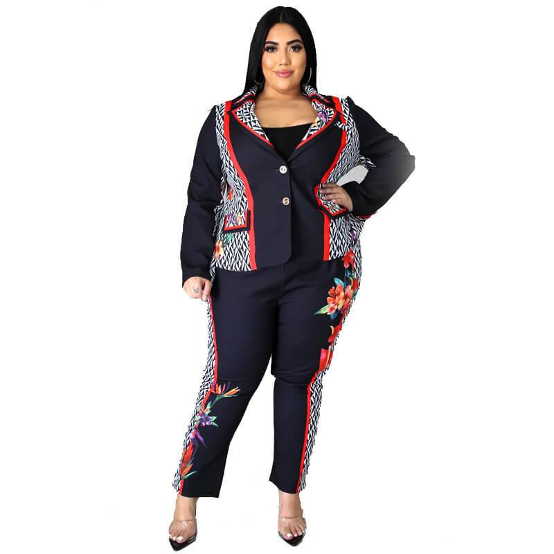 Plus Size Large Black Print Blazer
