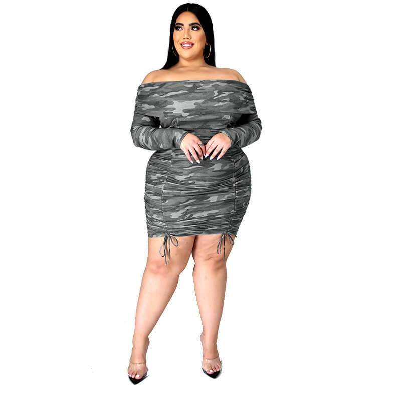 Plus Size  Camouflage Pleated Dress