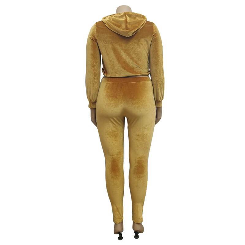 Plus Size Large Size Sports Suit - yellow back