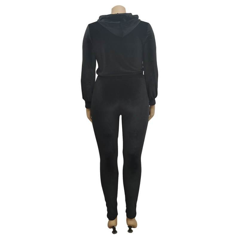Plus Size Large Size Sports Suit - black back