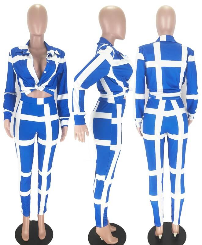 Plus Size Striped Suit - blue model picture