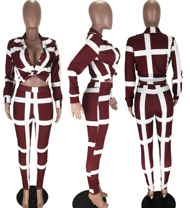 Plus Size Striped Suit - red model picture