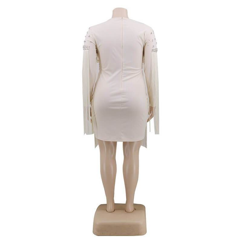 Plus Size White Dress -  white back