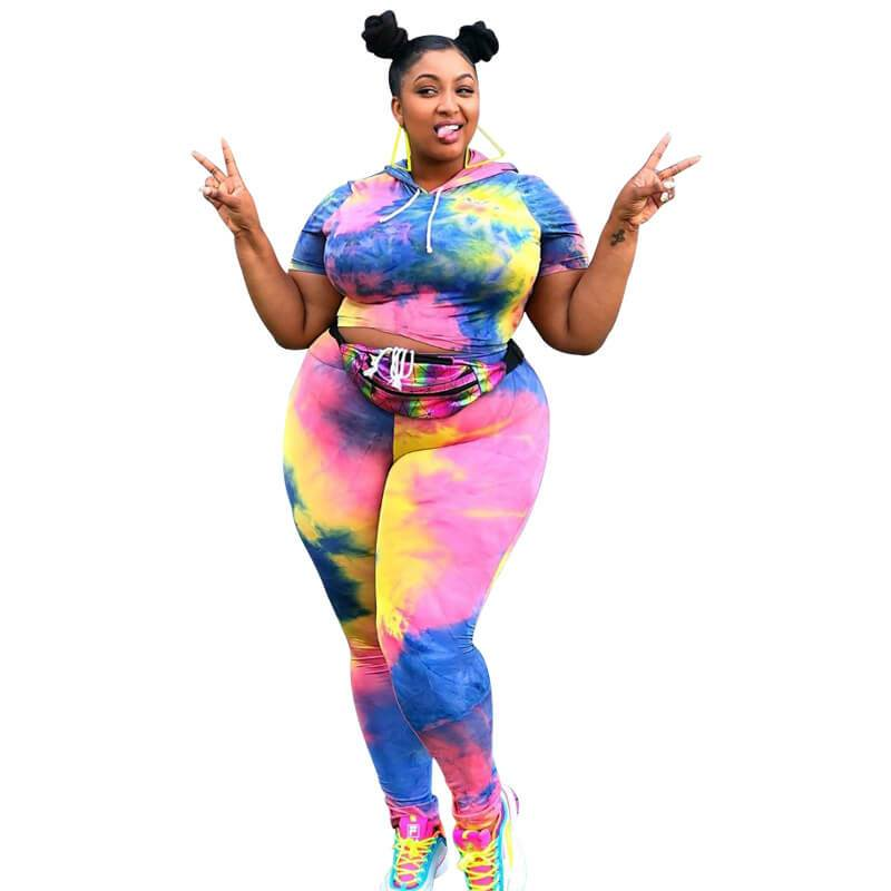 Plus Size Large Tie Dyed Two Piece Set with Navel Exposed