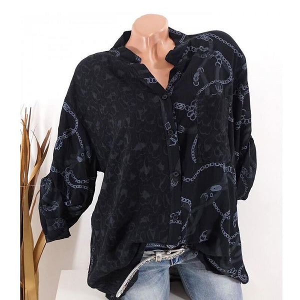 Plus Size Leopard Print Blouse - black color