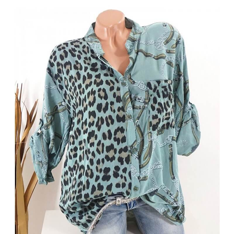 Plus Size Leopard Print Blouse - army green color