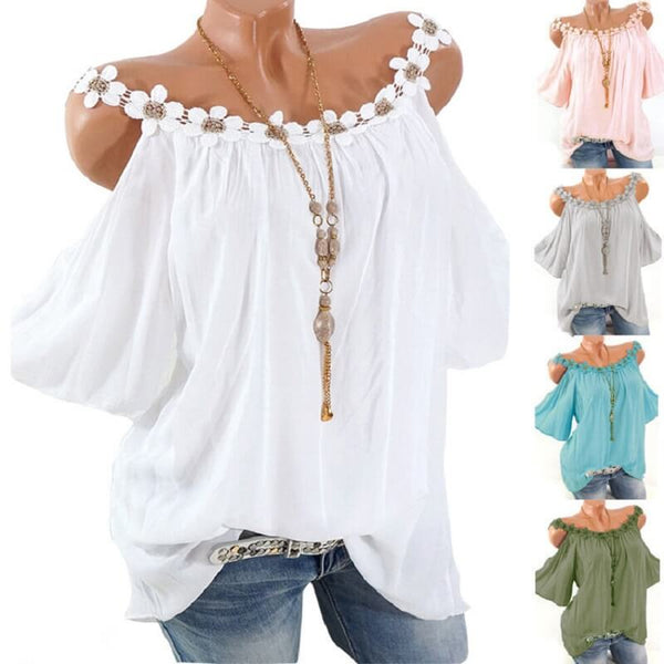 Plus Size Mexican Blouse Off Shoulder - five colors