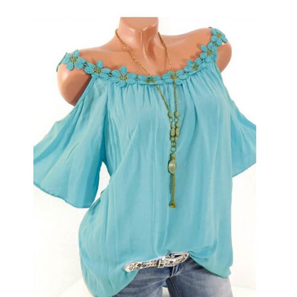 Plus Size Mexican Blouse Off Shoulder - sky blue  color