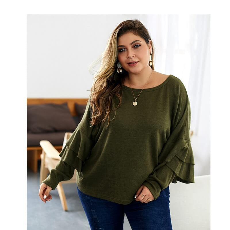 Plus Size Mustard Sweater - green color
