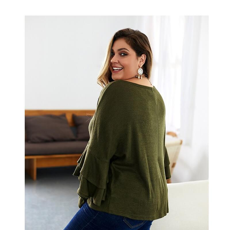 Plus Size Mustard Sweater - green side