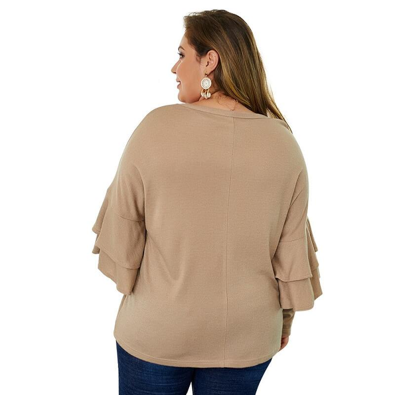 Plus Size Mustard Sweater - khaki back