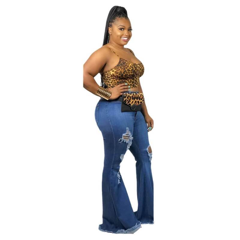 Plus Size Denim Flared Pants With Holes