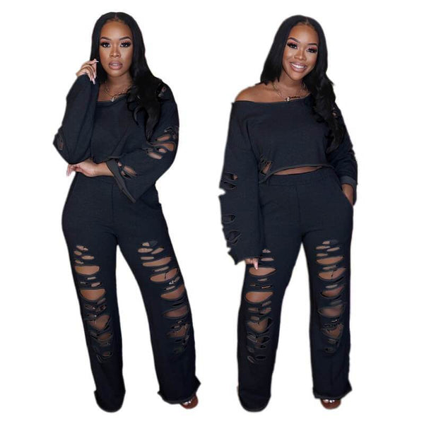Plus Size Oversized Open Shoulder Suit - black color