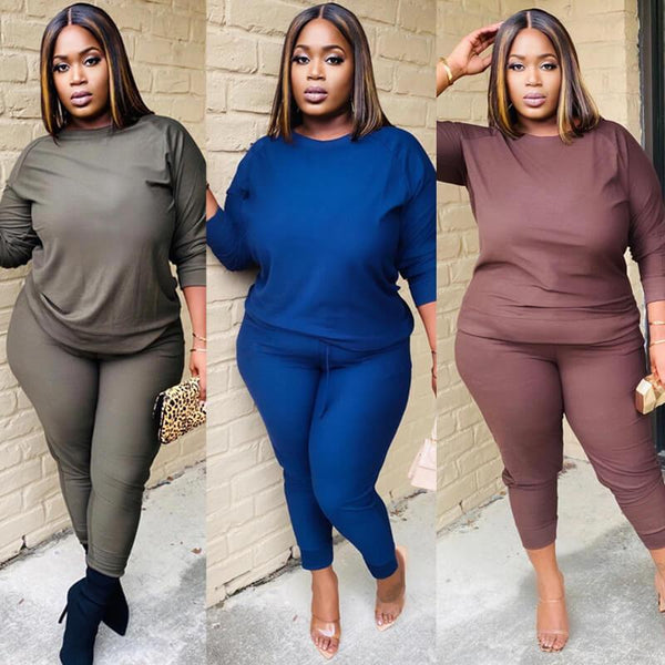 Plus Size Green 2 Piece Sets - three colors