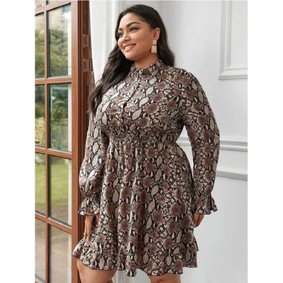 bohemian style dresses plus size - brown main picture