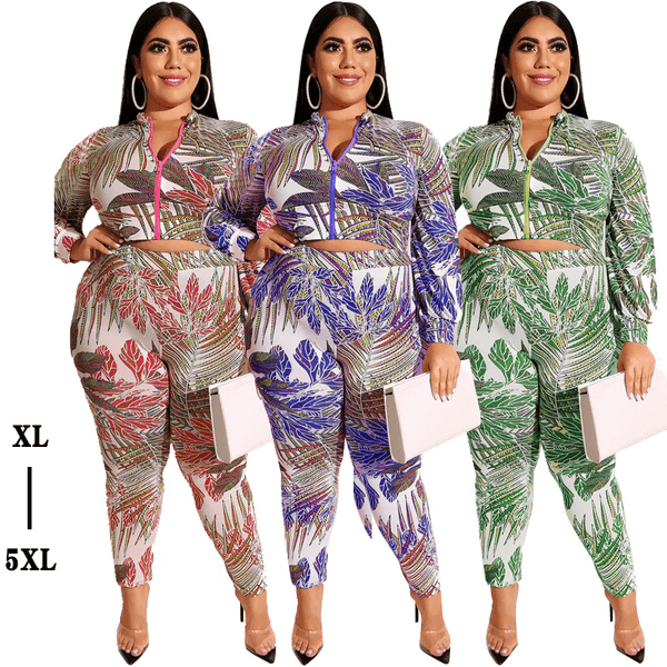 Plus Size Printed Zipper Suit - main picture