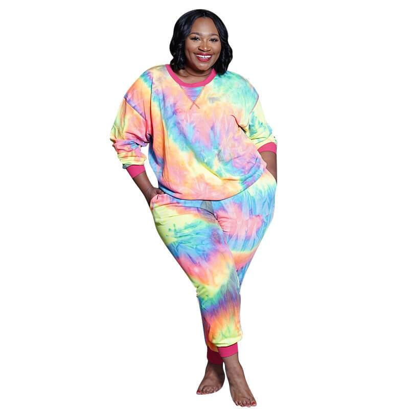Plus Size Printed and Knitted Two Piece Set
