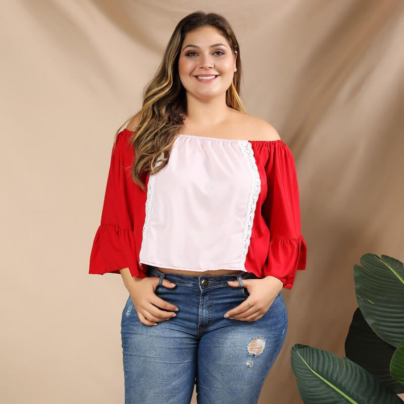 Plus Size Puff Sleeve Blouse - red main picture