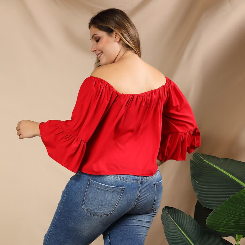 Plus Size Puff Sleeve Blouse - red back