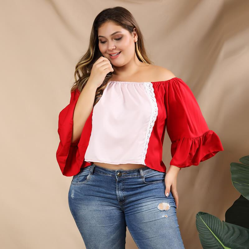Plus Size Puff Sleeve Blouse - red color
