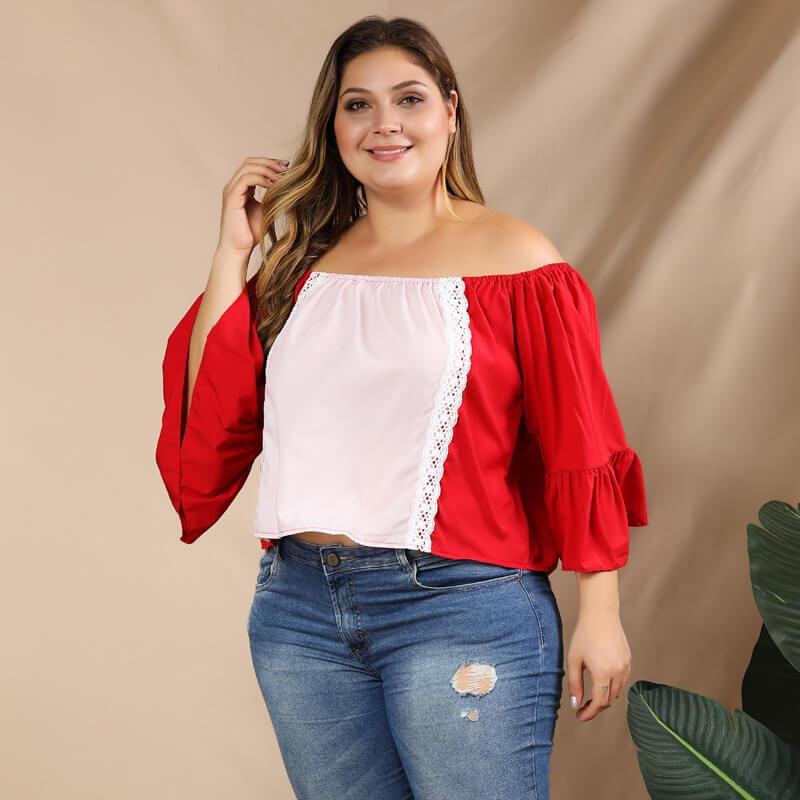Plus Size Puff Sleeve Blouse - red left