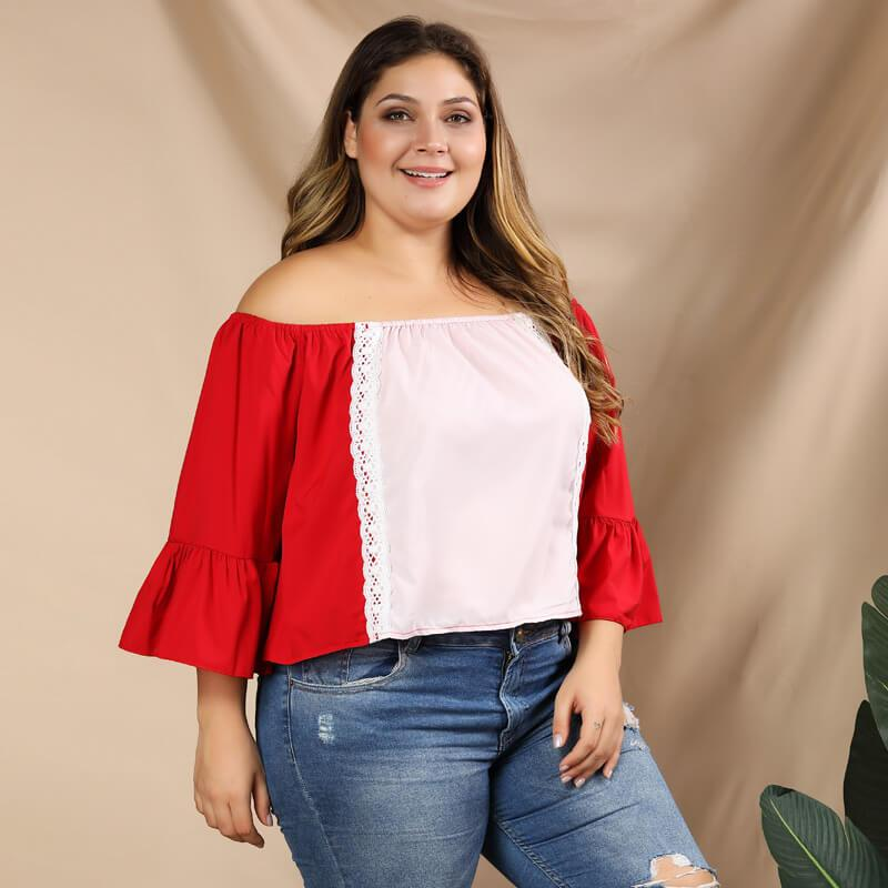 Plus Size Puff Sleeve Blouse - red right