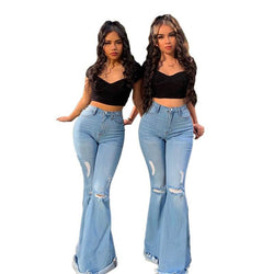 Plus Size Ripped Flared Jeans