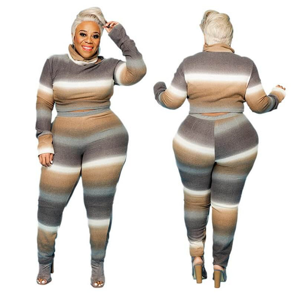 Plus Size Round Neck Two-piece - grey main picture