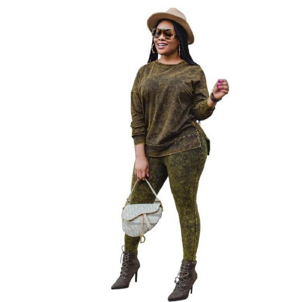Plus Size Round Neck Print Set - green color