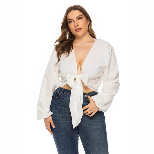 White Long Sleeve Blouse Plus Size - white main picture