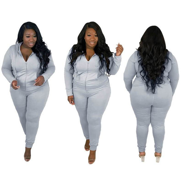 Plus Size Solid Color Long Sleeve Suit - gray color