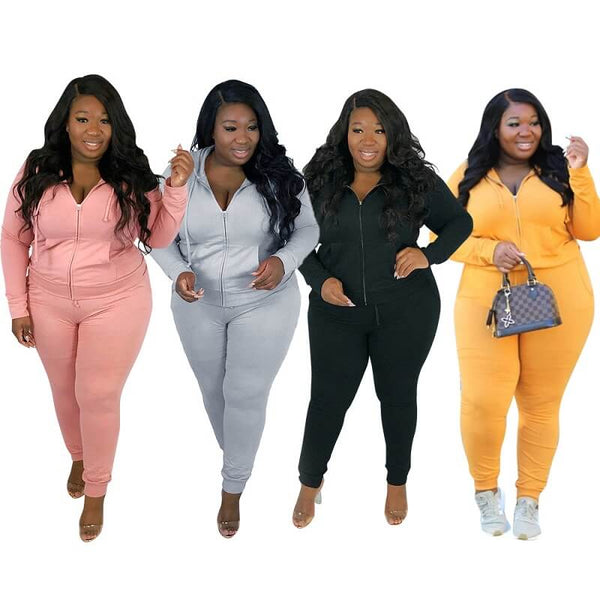 Plus Size Solid Color Long Sleeve Suit - main picture